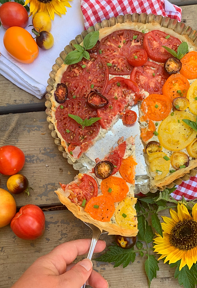 Tomato Tart with Phyllo Pastry & Boursin Cheese