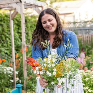 women making a bouquet in the garden