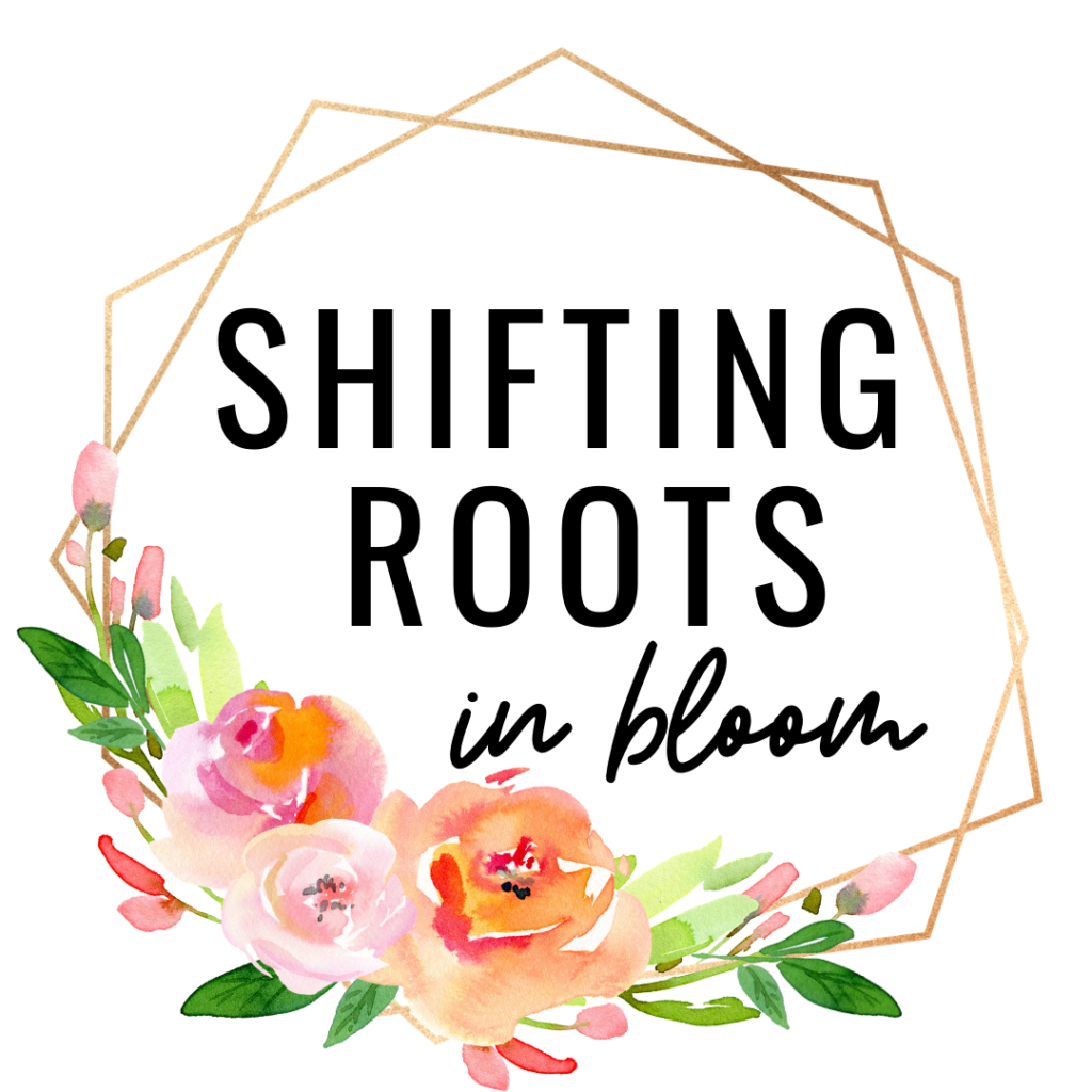 Shifting Roots in Bloom Logo with a geometric circle, and a swath of pink peonies